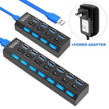 цена на Multi USB 3.0 Hub USB Hub 3.0 USB Splitter 3 Hab Type C Hub 4 7 Port Expander With Switch Power Adapter For Computer Accessories
