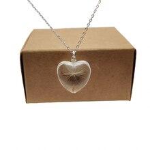 Женский кулон в виде сердца одуванчика серебряное ожерелье с