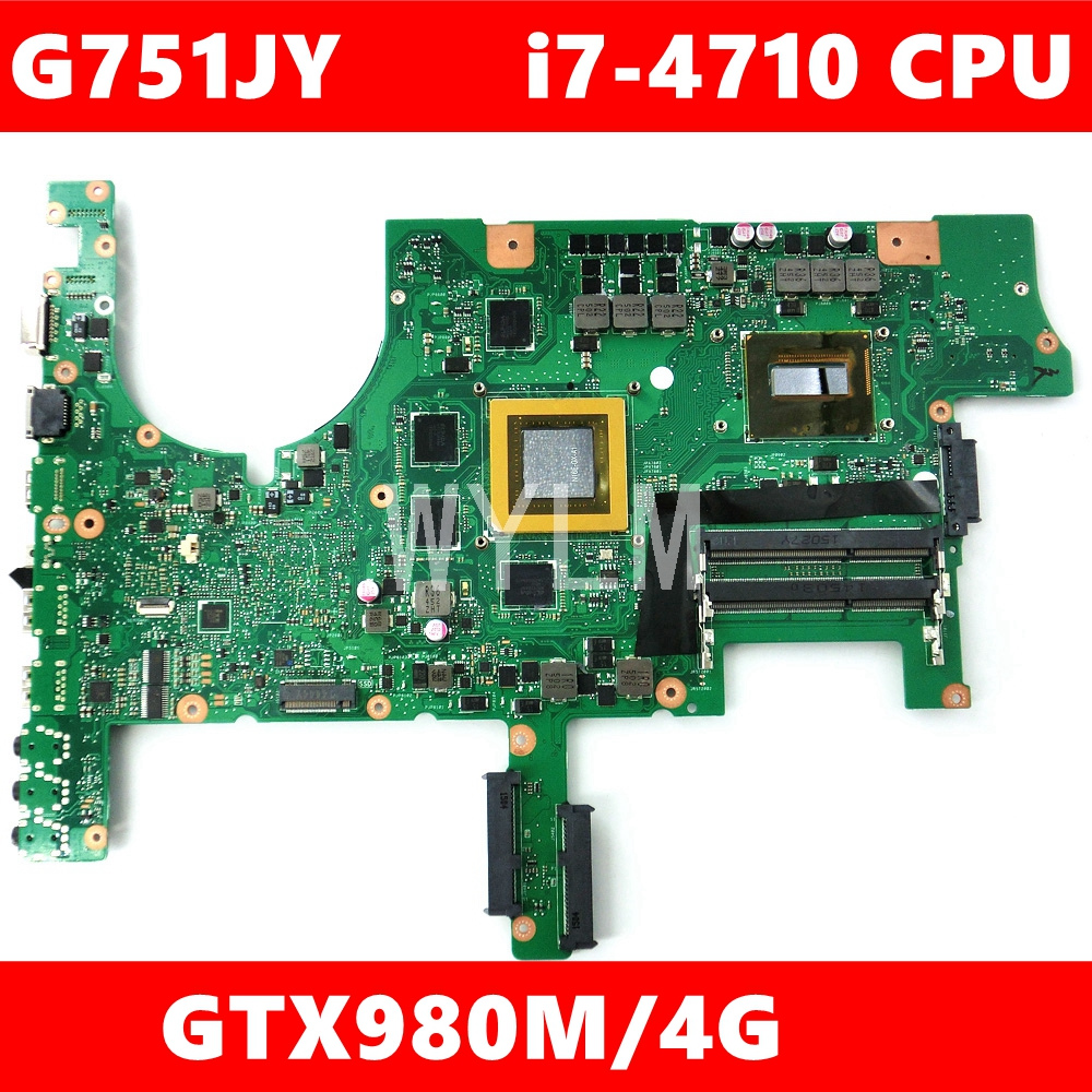 <font><b>G751JY</b></font> i7-4710HQ Quad core processor GTX980M/4GB motherboard For <font><b>ASUS</b></font> <font><b>ROG</b></font> G751J <font><b>G751JY</b></font> G751JT G751JL laptop mainboard Test OK image