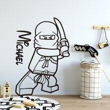 Lego papel de parede ninjago nome personalizado adesivo para quartos do bebê decalques da parede lego adesivos para crianças quarto decalque cartaz muurstickers