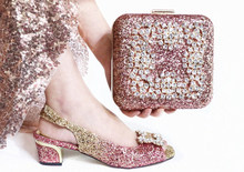 Free shipping Christmas party shoes and bag matching set the gradient pink and gold shoes sandal and clutches bag SB8458-5(China)