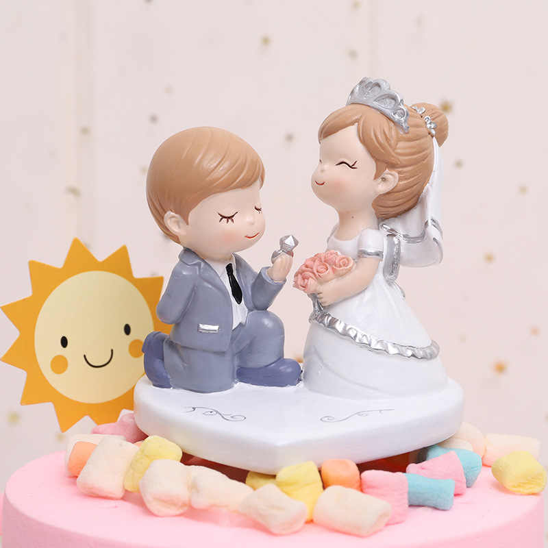 1pc Happy Wedding Ornament Cartoon Couple Miniature Love Rose Craft Cake Bakery Decoration Home Decor Gift Aliexpress