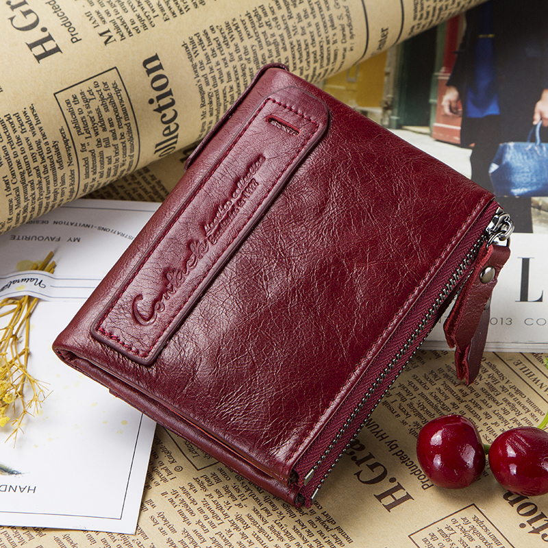 Image 5 - Genuine Leather Wallet Women Luxury Brand Double Zipper Small Coin Purse Female Classic Money Bag ID Card Holder Free Engravingmoney baggenuine leather wallet womenbrand leather wallet -