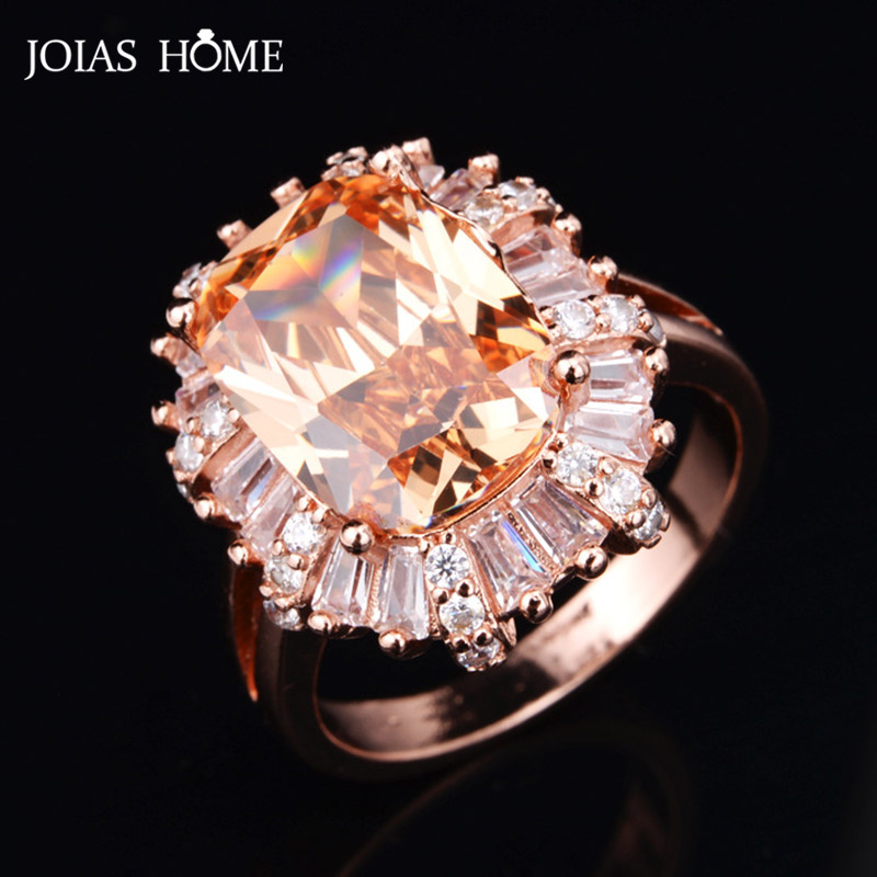 JoiasHome Trendy Silver 925 Jewelry Gemstones Ring for Women Rectangle Champagne Quartz Size6-9 Resizable Rose Gold Color Party