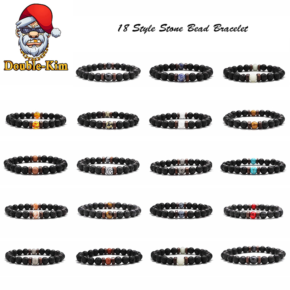 18 Style Natural Stone Bead Bracelet Rock Hip-Hop Rock Street Culture Colorful Stone Man Bracelet Fashion Trendy Men Jewelry(China)