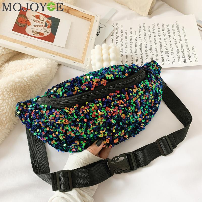 Women Sequin Fanny Pack Fashion Female Waist Bag 2019 New Chest Pouch Shoulder Bag Glitter Bum Belts Bags Waist Packs