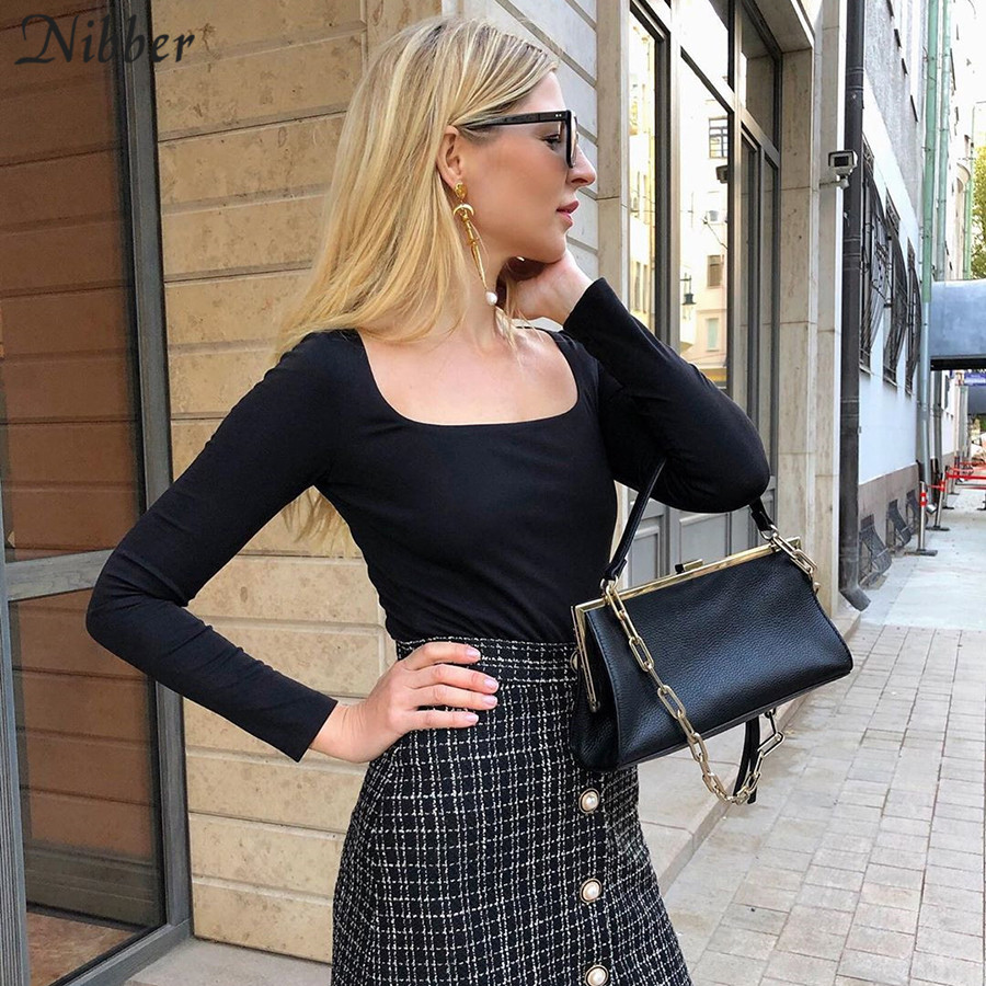 Nibber Autumn Winter Knitting Simple Full Sleeve Casual Tops Women   Office Lady High Street Wild Black T-shirt 2020 Spring Tees
