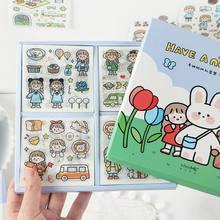 Minkys nova chegada 100 pçs/caixa kawaii menina com coelho scrapbooking adesivo decorativo adesivos conjunto de presente escritório escola papelaria