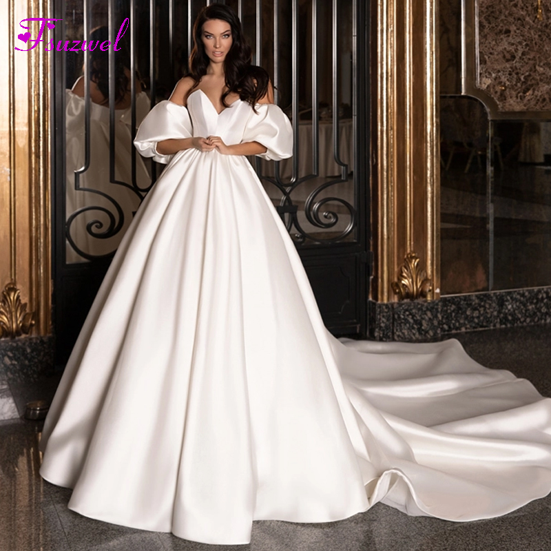 Fsuzwel Charming Strapless Backless Court Train A-Line Wedding Dresses 2020 Romantic Lantern Sleeve Satin Princess Bridal Gown