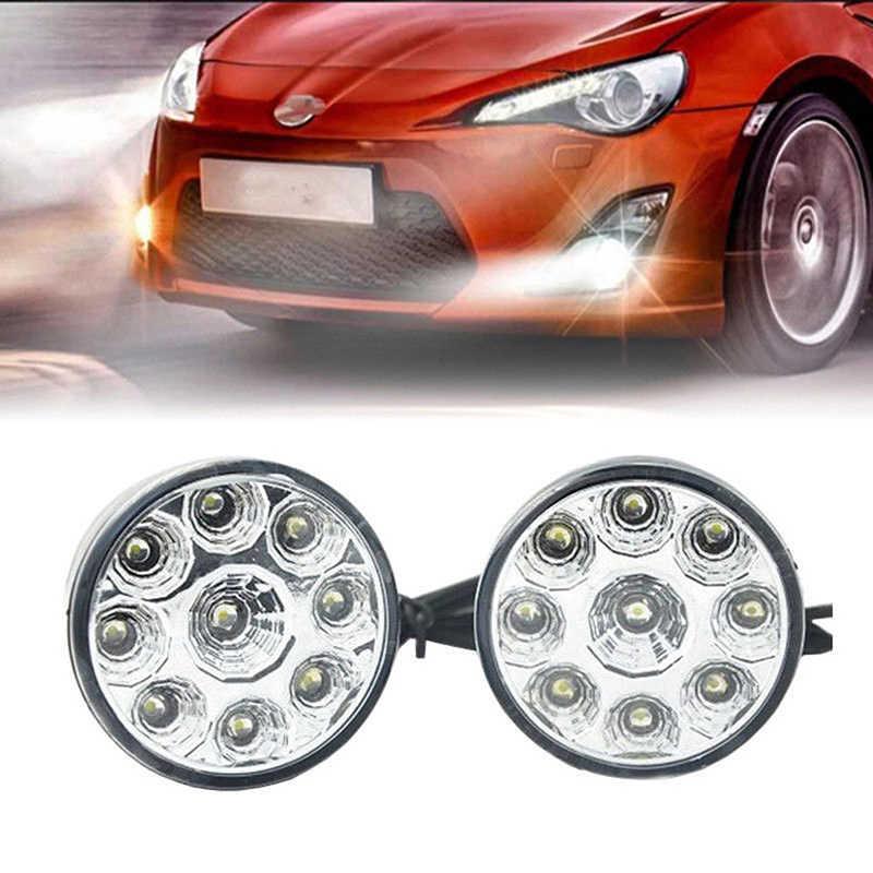2 sztuk 9LED DRL okrągły lampa przeciwmgielna samochodu jazdy światła dzienne głowy światło białe