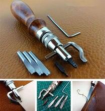 5 em 1 pro leathercraft borda kit de imprensa costura e groover vinco couro ferramenta costura ajustável ferramentas costura acessórios
