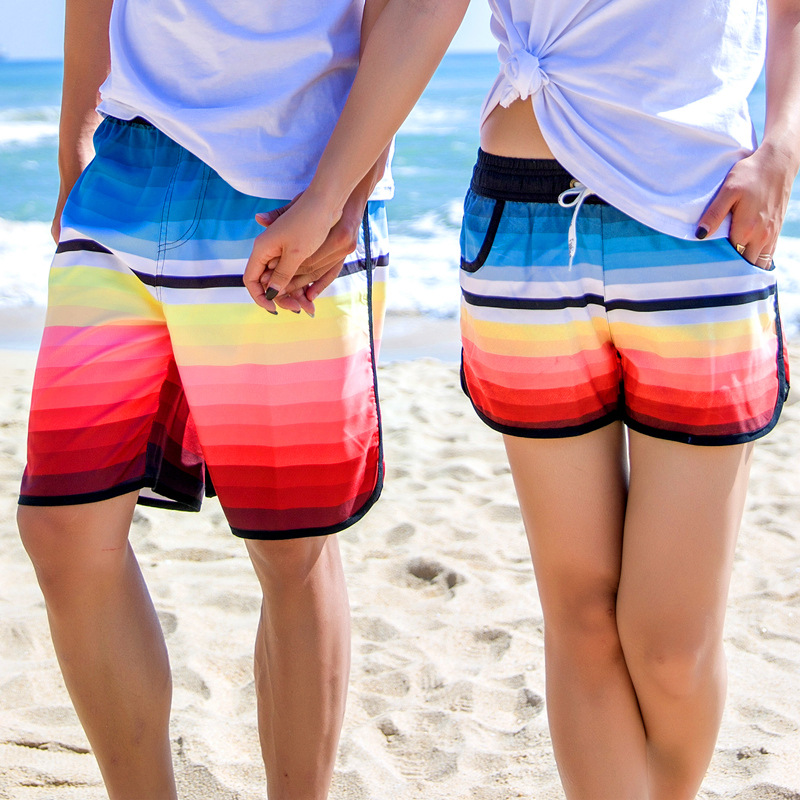 New Style Seaside Holiday Shorts Korean-style Sweat-wicking Swimming Trunks Shorts Men And Women Couples Beach Shorts Hot Pants
