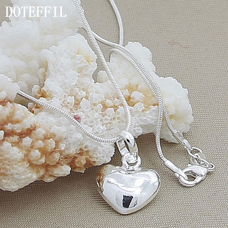 H36fb24db882246338be9e769c4a3db8a9 - Wholesale 925 Sterling Silver Necklace 18 Inch Snake Chain  Fashion New Jewelry Heart Pendant Necklace For Women Girl Lady Gifts