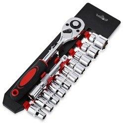12 sztuk 1/4 Cal (6.3 MM) zestaw kluczy nasadowych napęd klucz grzechotkowy klucz do rowerów motocykl samochód zestaw narzędzi do napraw w Dolne wsporniki od Sport i rozrywka na
