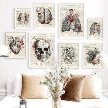 Póster Vintage de anatomía del hueso del pie de la flor cuadro sobre lienzo para pared carteles nórdicos e impresiones imágenes de pared para Doctor decoración de la Oficina