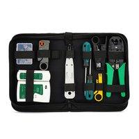 10/12 pçs/set kit de ferramentas de reparo rede lan portátil utp cabo braçadeira alicate cabo tester crimper descascamento friso alicate|Conjuntos ferramenta manual| |  -
