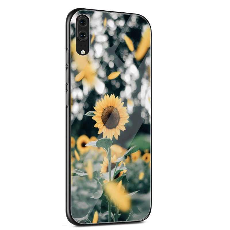 Чехол для мобильного телефона стекло для huawei mate Honor 8X9 10 7A 20 P30 P20 P10 Lite Pro P Smart Cover красивый желтый цветок подсолнух