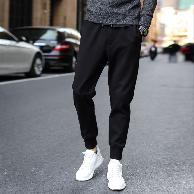 Spring And Autumn Korean-style Elasticity Casual Pants BOY'S Slim Fit Thinner Pants Skinny Athletic Pants Male STUDENT'S Sweatpa