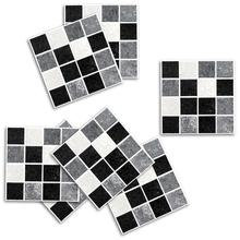 18Pcs 10*10cm Wall-Stickers Waterproof Black Marble Mosaic Bathroom Wall Stickers Tile Wc Sticker Decal House Decoration