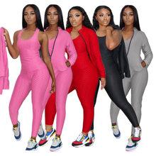 Activewear-chándal de 3 piezas para mujer, conjuntos deportivos, Tops sin mangas ajustados + pantalón de chándal ajustado + conjunto de abrigo de manga larga con cremallera a juego