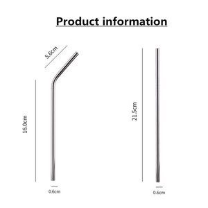 Image 2 - Batch Straws 50Pcs/Set Metal Straw Reusable Wholesale Stainless Steel Drinking Tubes 215mm*6mm Straight Bent Straws For Drink