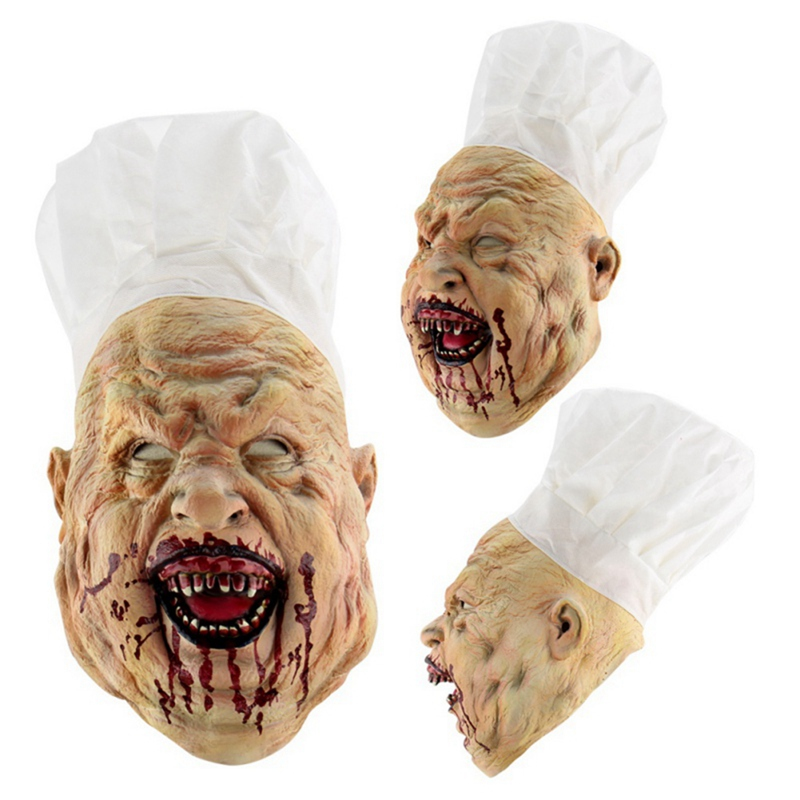 Halloween <font><b>Terror</b></font> Zombie Chef Mask Bloody Latex Mask Bloody Scary Disgusting Horror Cook Masks Halloween Ball Cosplay Props image