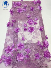 BEAUTIFICAL Nigerian 3d Lace with Bead High Quality Flower French Tulle Net African Tissu for Dress Sewing ML44N223