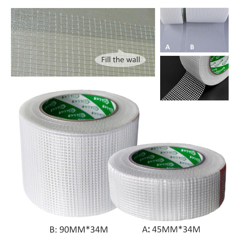 Wall Repair Self-Adhesive Reinforcement Fiber Tape Wall Crack Decoration Mesh Seam Tape Wall Sticker Decoration 45MMx34M image