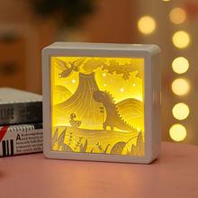 Wystrój pokoju dziecięcego 3d lampa biurkowa kreatywny papier do majsterkowania rzeźba producenci bezpośrednia lampka do sypialni stolik nocny oświetlenie do sypialni tanie tanio ONEFIRE CN (pochodzenie) Łóżko pokój Niebieski Dół 3d Paper Carving Lamp 2g11 Brak Pokrętło przełącznika Żarówki led