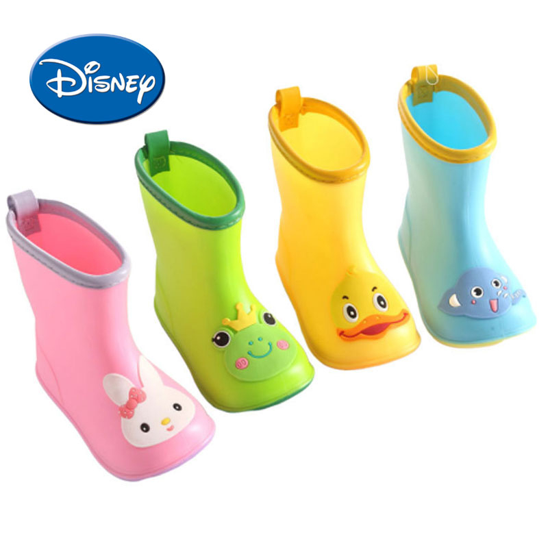Disney Rain Boots Waterproof Kids Shoes Children Cartoon Rubber Non-slip Water Shoes