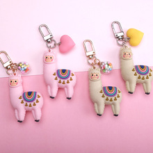 Fashion Epoxy Three-dimensional Cute Alpaca Keychain Doll Creative Cartoon Little Sheep Bag Pendant Jewelry Small Gift Women