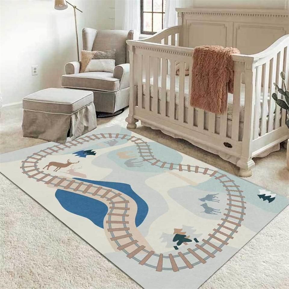 US $13.13 13% OFFNordic Cartoon Traffic Road Light Color Carpet Kids Room  Bedside Mat Baby Room Area Rug Bedroom For Boys Children Play MatCarpet -