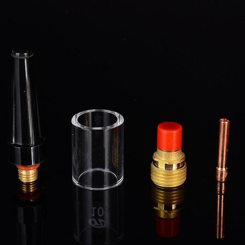 8 stücke Mayitr 2,4mm Schweißen Fackel Gas Objektiv Pyrex Tasse Kit Für Tig WP-9/20/25 3/32