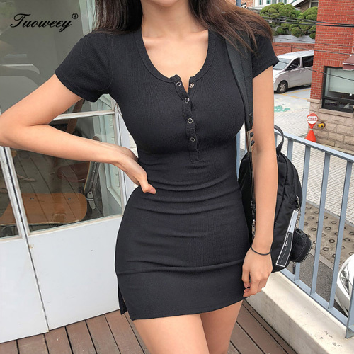Women Casual <font><b>Slim</b></font> High Elastic Bodycon <font><b>Sexy</b></font> Party <font><b>Dresses</b></font> Vestidos new buttons Summer <font><b>Dress</b></font> <font><b>Black</b></font> white Short Sleeve mini <font><b>Dress</b></font> image