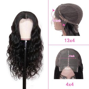 Ross Pretty Hair 13*4 4*4 Lace Front Wig Pre Plucked With Baby Hair Brazilian Remy Human Hair Body Wave Wig Natural Black Wig
