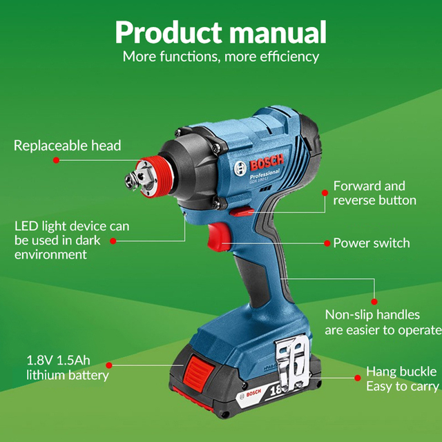Bosch Original 18V Cordless Electric Impact Wrench Driver Socket Wrench Lithium Battery Hand Drill Installation Power Tools 4