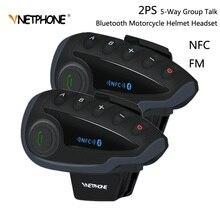 2 Chiếc VNETPHONE V8 SV Liên Lạc Nội Bộ Mà Không Điều Khiển Từ Xa 5 Nhóm Thảo Luận Bluetooth Xe Máy Tai Nghe FM NFC 1.2KM