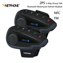 2pcs VNETPHONE V8 SV Intercom without Remote Control 5 Way Group Talk Bluetooth Motorcycle Helmet Headset FM NFC 1.2KM