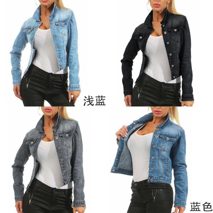 2019 automne Cowboy Slim Fit manteau femme Denim Jeans veste femmes Streetwear à manches longues vestes grandes tailles