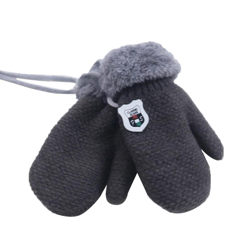 Милые кашемировые перчатки для мальчиков и девочек, зимние теплые тянущиеся вязаные варежки из толстого плюша с искусственным мехом, guantes luvas de inverno, новинка - Цвет: Dark Grey