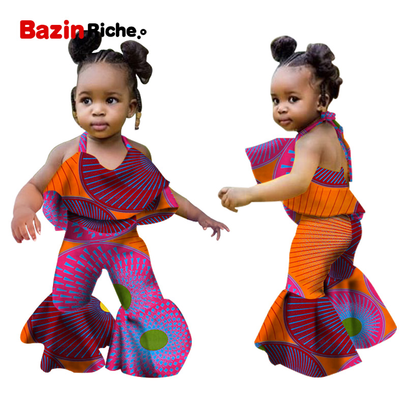 2020 Children Summer Clothing Infant Baby Girls Kids African Style Jumpsuit Clothes Toddler Playsuit Sleeveless Outfit WYT346