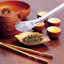 Pajita para beber de acero inoxidable, paja de té lavable hecha a mano Yerba Mate té Bombilla calabaza herramienta de té reutilizable Bar suministros