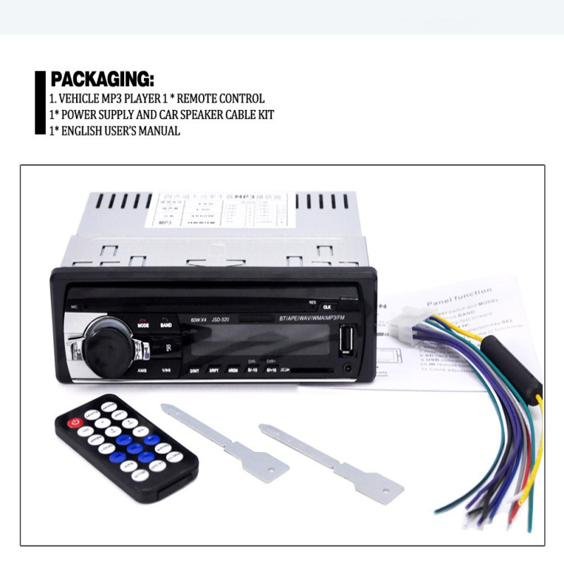 New Car Radio Bluetooth Stereo Player MP3/USB/SD/AUX-IN/FM In-dash Head Unit 1 Din Accessories 35Wx4 60Wx4 Car Radio MP3 Player image