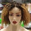 Dreamdiana ombre kinky encaracolado peruca 4x4 fechamento do laço peruca remy brasileiro encaracolado peruca 150 densidade loira peruca do laço 100% peruca de cabelo humano