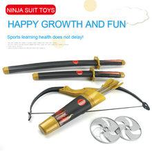 Crianças brinquedo espada crianças ninja brinquedos japonês samurai palco adereços arco e flecha dardos tatsu yamashiro brinquedos