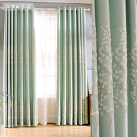 Customized Curtains Green Velvet Linen Blackout Curtains for Living Room Floral Embroidered Window Curtains for Bedroom