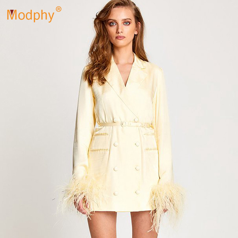 2019 New Women'S Light Yellow   Trench   Coat Sexy Long-Sleeved Double-Breasted Feather Long Slim Women'S Out Wear Club Party Coats