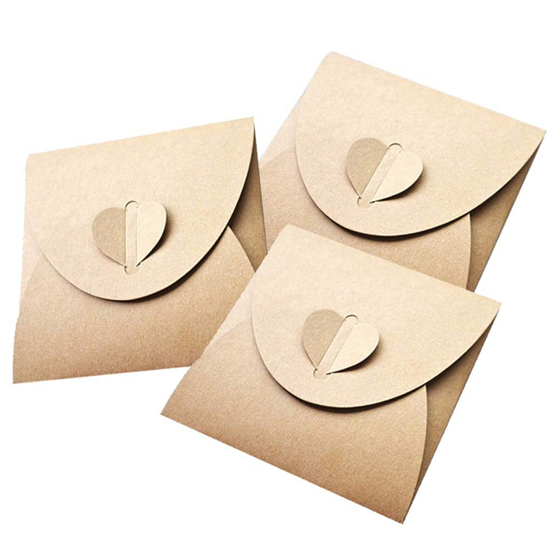 100Pcs/Lot Retro Love Kraft Cd Dvd Sleeves Paper Envelopes With Heart Button For Wedding Party 13X13cm