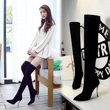 Fashion Long Flock Sock Boots Women Black Winter Thin High Heel Over-the-Knee Boots Ladies Solid Pointed Toe Short Plush Booties fashion casual women s over knee boots solid velet long boot in winter pointed toe high heels flock thin with shoes 769 3ve