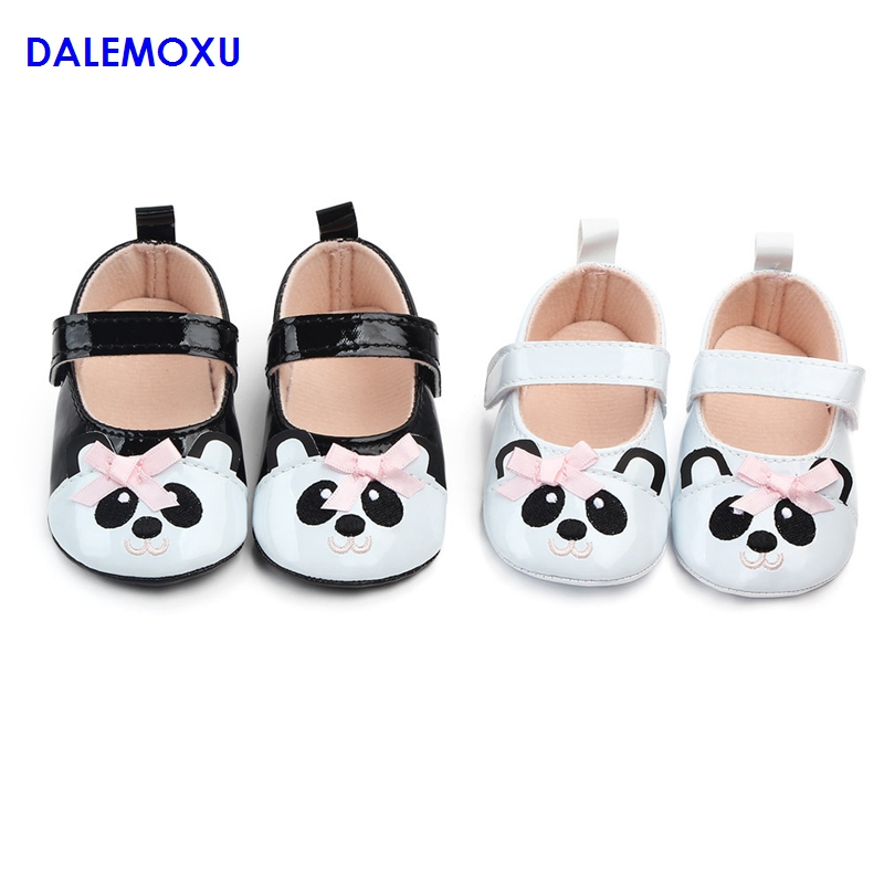 DALEMOXU Baby Toddler Shoes Cute Panda Toddler Dress Princess Shoes Infant Sneakers Cartoon Casual Newborn Shoes With Bows